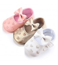 Big Bow Embroidery Pu Leather Baby Girl Shoes