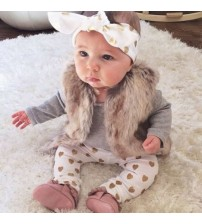 Baby Clothes Cotton Romper+Pant+Headband