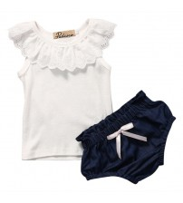 Baby Clothes Sleeveless Tops+Denim Short Pants