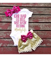 Baby Girl Bodysuits+Pants+Top Bow Head-hand