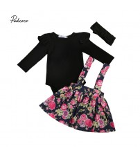 Baby Girl Clothes Long Sleeve Romper+Floral Skirt