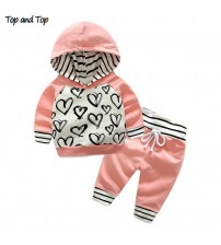 Baby Girl Clothes Hooded Sweatshirt+Striped Pants