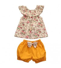 Baby Girl Clothes Floral Tank Top+Bow-Knot Shorts