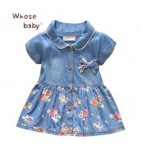 Baby Dress Girls Denim Cotton Bow Clothing