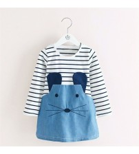 Baby Girl Casual Tunic Dress Stripe Mouse Denim