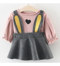 Baby Dresses Long Sleeve Rabbit Embroidery