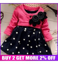 Baby Girl Dresses Two Tones Splicing Polka Dots