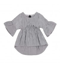 Baby Dress Flare Sleeve Black White Striped