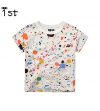 Boy T Shirt Cotton Paint Points Short Sleeve