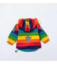 Boy Hooded Coat Sunscreen Clothes Rainbow Stripe