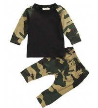 Army Camouflage Set Long Sleeve Top Kids Clothes