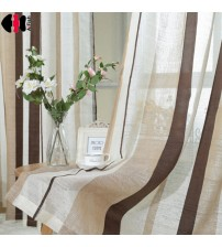 Coffee Striped Pattern Fringe Curtain