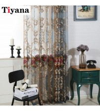 Modern Luxury Embroidered Flower Sheer Curtains