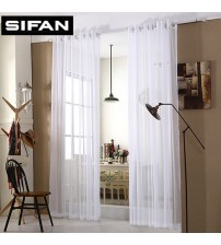 Solid White Tulle Modern Curtains