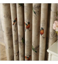 Blackout Birds Printed Bedroom Curtains