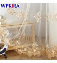 Europe Luxury Gold Lace Curtains
