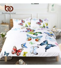 3 Pieces Flying Butterflies Duvet Cover Set