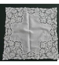 Embroidered Face Flowers Lady Handkerchief