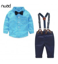Baby Boy Clothes Plaid Shirt+Bow Tie+Suspender Trousers