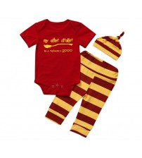 Baby Boy Clothes Short Sleeves Romper+Striped Pants+Hat