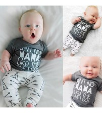 Baby Boy Clothing Cotton Letter T-shirt Tops + Pants