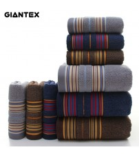 3-Pieces Thicker Stripe Pattern Soft Cotton Towel Set