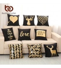 Bronzing Cushion Cover Gold Printed Black and White Pillow Cover