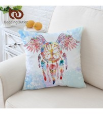 Dreamcatcher Cushion Cover Feathers Print Pillow Case
