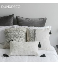 Decorative Cushion Pillow Case Nordic Geometric White Black Lines Tassels