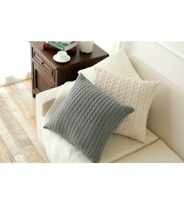 Double Cable Knitting Pattern Cotton Cushion Cover Throw Pillowcase