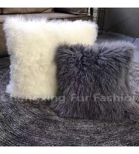 Customized Soft Colorful Mongolia Lamb Fur Cushion Cover For Pillows