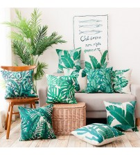 Cushion Cover Tropical Green Leaf Decorative Pillow Case
