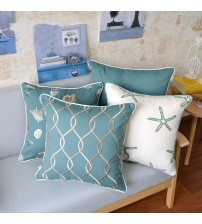 Elegant Ocean Embroidery Cushion Cover For Home Pillowcase