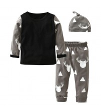 Baby Clothes Long Sleeve Deer T-shirt+Pants+Hat