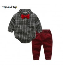 Baby Boy Clothes Sets Plaid Rompers + Jeans