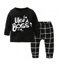 Baby Clothes Letters Printed Long Sleeves Tshirt+Pants