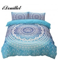 Bohemia Bedding Printing Blue Mandala Reversible Duvet Cover Set
