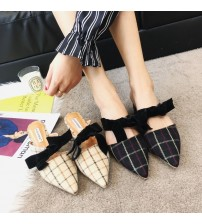 Genuine Leather Bowknot Pointed Toe Flat Woman Slippers