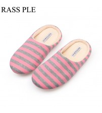 Striped Home Slippers Cotton Warm Shoes