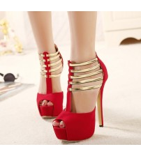 Metal Sequined Hollow Stiletto Sandals Pumps