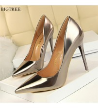 Patent Leather Thin Heels Women Pumps