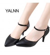 Pumps Shoes Shallow Buckle Strap Thin Heels Pointed Toe