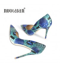 Blue Snake Printed Woman Shoes Pumps