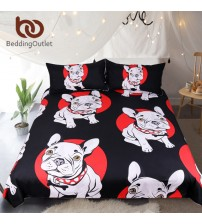 Bulldog Bedding Set Black and Red Quilt Cover With Pillowcases