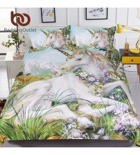 3d Unicorn Bedding Watercolor Print Bed Set
