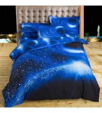 3D Bedding Sets Universe Outer Space Blue Galaxy