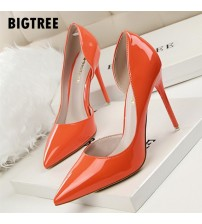 Pointed Toe Patent Leather Stiletto High Heels