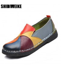 Genuine Leather Loafers Women Mixed Colors