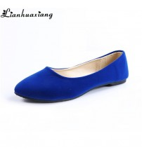 Ladies Pointed Toe Flat Ballet Flock Shallow Shoes