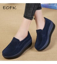 EOFK Women Flat Platform Loafers